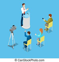 Isometric Mass Media Concept with Reporters and Conference...