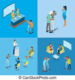 Isometric Mass Media Concept with Reporters and Journalists....