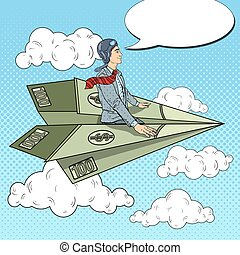Pop Art Successful Businessman Flying on Dollar Paper Plane. Vector illustration