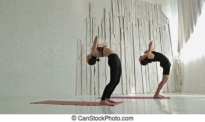 Sporty man and woman doing ashtanga yoga - Beautiful young...