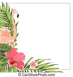 Tropical exotic border frame template green pink