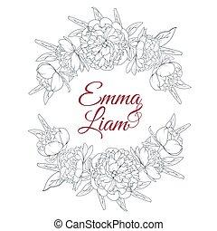 Wedding invitation template peony floral laurels - Peony...