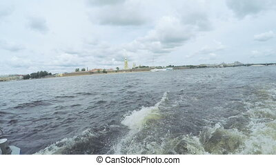 Next astern on river - RUSSIA, SAINT PETERSBURG, JULY: On...