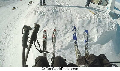 Landing from ski lift - Preparation of the landing of the...