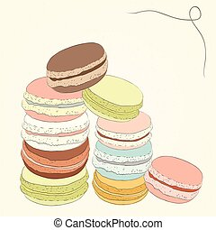 Set of colorful doodle macaroon. Sketch macaroon. Macaroons handmade. Objects for design. French dessert. Cute macaroon with doodles. Vector illustration.