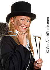 Chimney sweep Lucky New Years Eve, New Year - Woman as a...