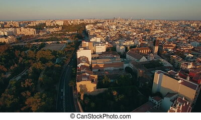 Aerial Valencia view at sunset, Spain - Valencia aerial view...