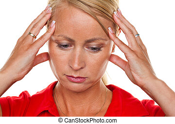 Pensive woman with headaches and migraines. - A thoughtful...