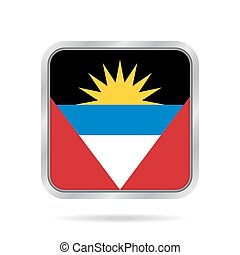 Flag of Antigua and Barbuda. Metal square button.