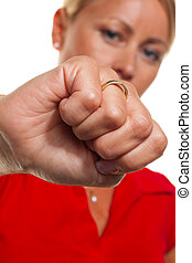 Woman clenches his fist. Example picture of rage and anger....