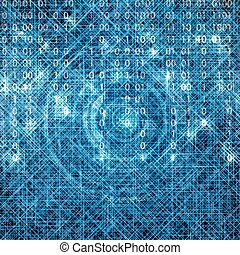 Abstract tech binary blue matrix background