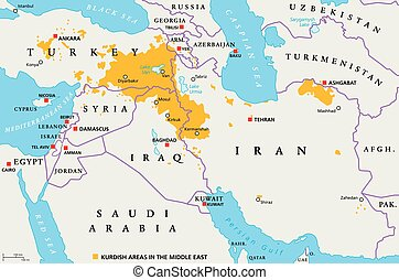 Kurdish areas in the Middle East, political map. Countries...