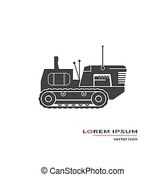 Crawler tractor isolated on background. Vector illustration.