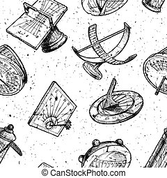 Seamless pattern with different sundial - Seamless vector...