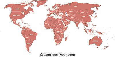 Maroon political World map with country borders and white state name labels. Hand drawn simplified vector illustration