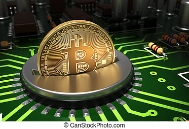 Putting Gold Bitcoin Into Coin Slot On Motherboard. 3D...