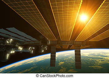 International Space Station And Sun Above The Earth. 3D...