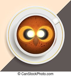 Owl drinking coffee - Owl hot coffee mug Desk vector...