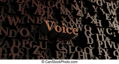Voice - Wooden 3d rendered letters/message