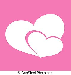 Icon hearts valentine day on pink background