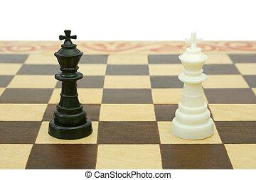 dos, reyes, tablero de ajedrez, (tie)
