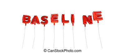 BASELINE - word made from red foil balloons - 3D rendered....