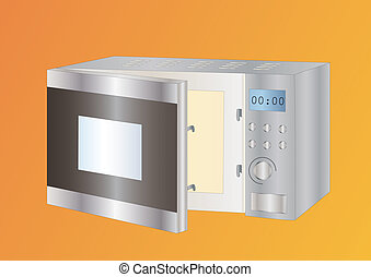microwave on light background