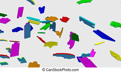 colourful puzzle showing teamwork - 3d colourful puzzle...