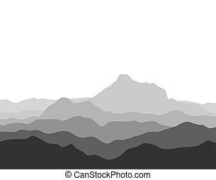 Huge mountain range silhouette. Black and white vector...
