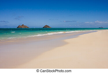 Oahu Lanakai Sandy Beach - Scenic view of the beautiful...