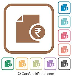 Indian Rupee financial report simple icons in color rounded...
