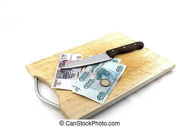 Money, knife for a board for are sharp