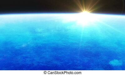 earth atmosphere with sunlight - 3d animation of earth from...