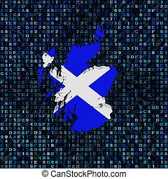 Scotland map flag on hex code illustration