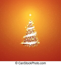 Gold Christmas tree  blizzard stars background.