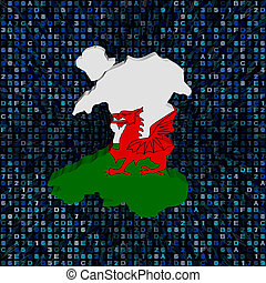 Wales map flag on hex code illustration