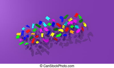puzzle pieces forming teambuilding - 3d puzzle pieces...