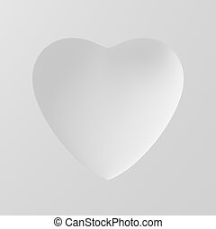 Concave Shape Of White Heart On White Background. 3D...
