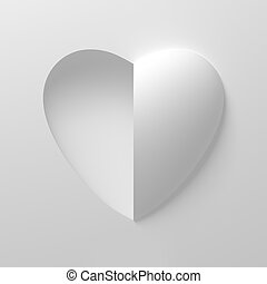 Concept Of White Heart Shape On White Background. One Side...