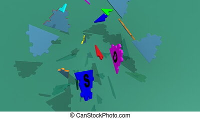 colourful puzzle forming strategy against  a blue background