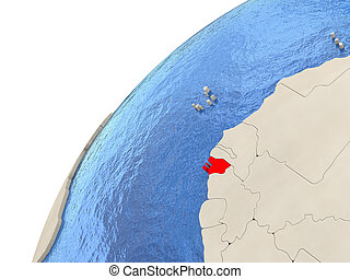 Guinea-Bissau on globe - Map of Guinea-Bissau on simple...