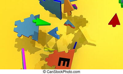 falling puzzle forming teamwork against a yellow background