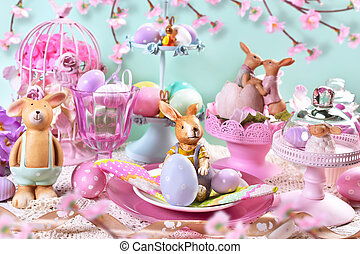 easter table decoration in pastel colors - beautiful easter...