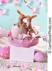 Easter card in pastel colors - easter card with kissing...