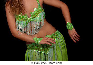Belly Dancer - Belly dancer with beautiful green costume