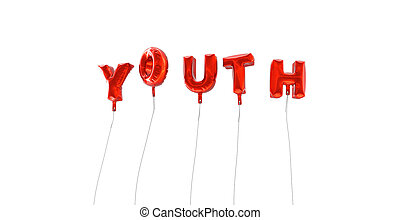 YOUTH - word made from red foil balloons - 3D rendered.