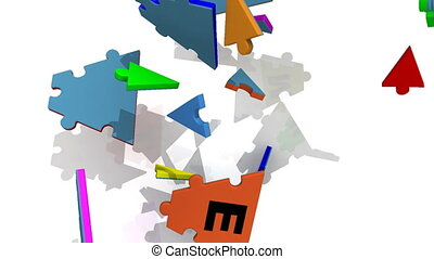 colourful puzzle forming teamwork