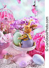 Easter card in pastel colors - easter card with rabbit and...