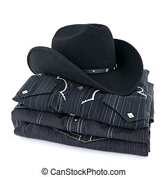 Black cowboy hat and clothes - Black cowboy hat and western...