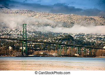 Lions Gate Bridge, North Vancouver - Winter day of North...